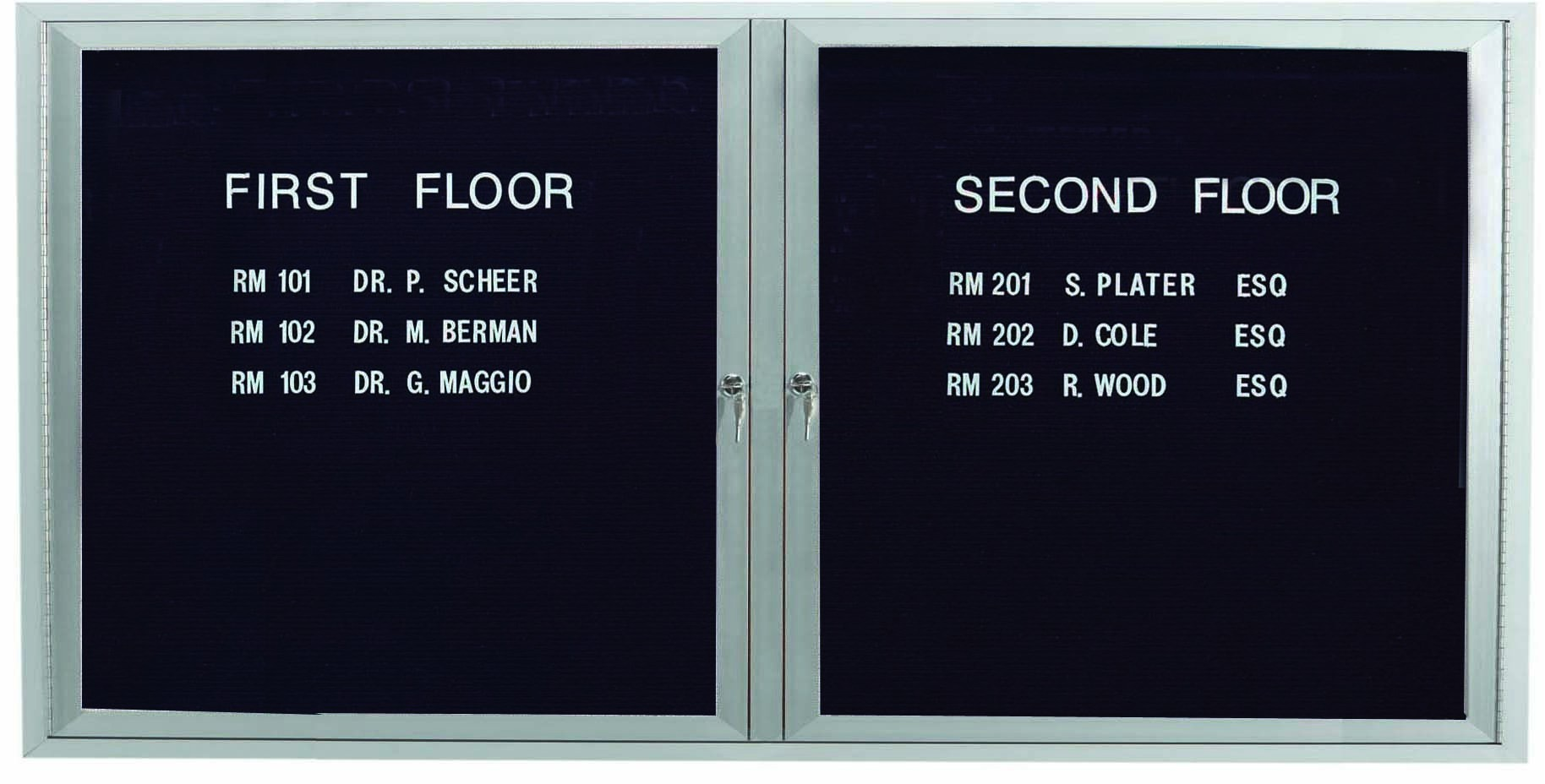 """Aarco Products OADC3672I 2 Door Outdoor Illuminated Enclosed Directory Board with Aluminum Frame, 36""""H x 72""""W"""