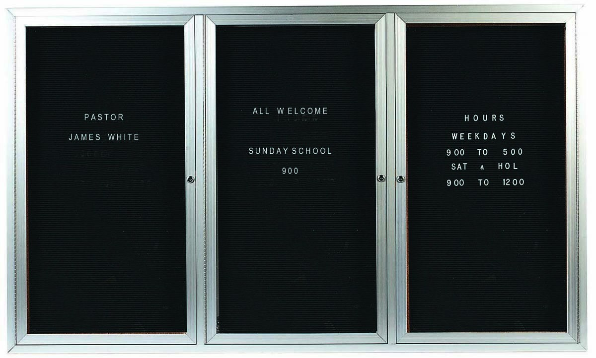 """Aarco Products OADC4872-3I 3 Door Outdoor Illuminated Enclosed Directory Board with Aluminum Frame, 48""""H x 72""""W"""