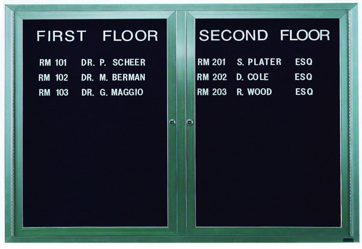 """Aarco Products OADC4872I 2 Door Outdoor Illuminated Enclosed Directory Board with Aluminum Frame, 48""""H x 72""""W"""