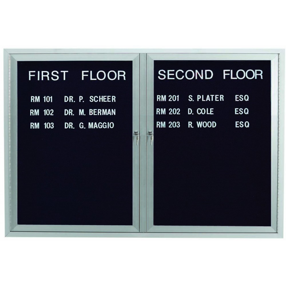 "Aarco Products OADC3648I 2 Door Outdoor Illuminated Enclosed Directory Board with Aluminum Frame, 36""H x 48""W"