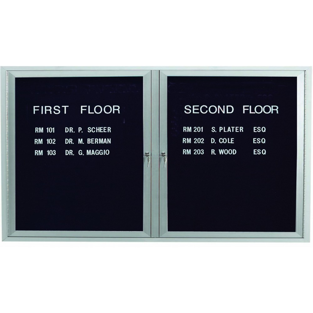 "Aarco Products OADC3660I 2 Door Outdoor Illuminated Enclosed Directory Board with Aluminum Frame, 36""H x 60""W"