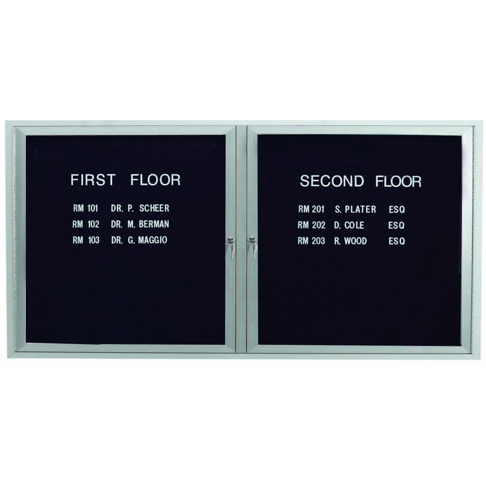 "Aarco Products OADC3672I 2 Door Outdoor Illuminated Enclosed Directory Board with Aluminum Frame, 36""H x 72""W"