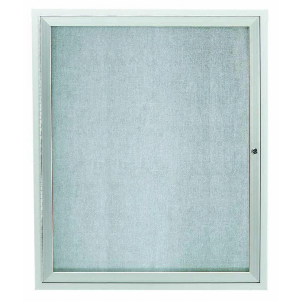 Outdoor Enclosed Aluminum Illuminated Indoor 1-Door Bulletin Board Cabinet - 36