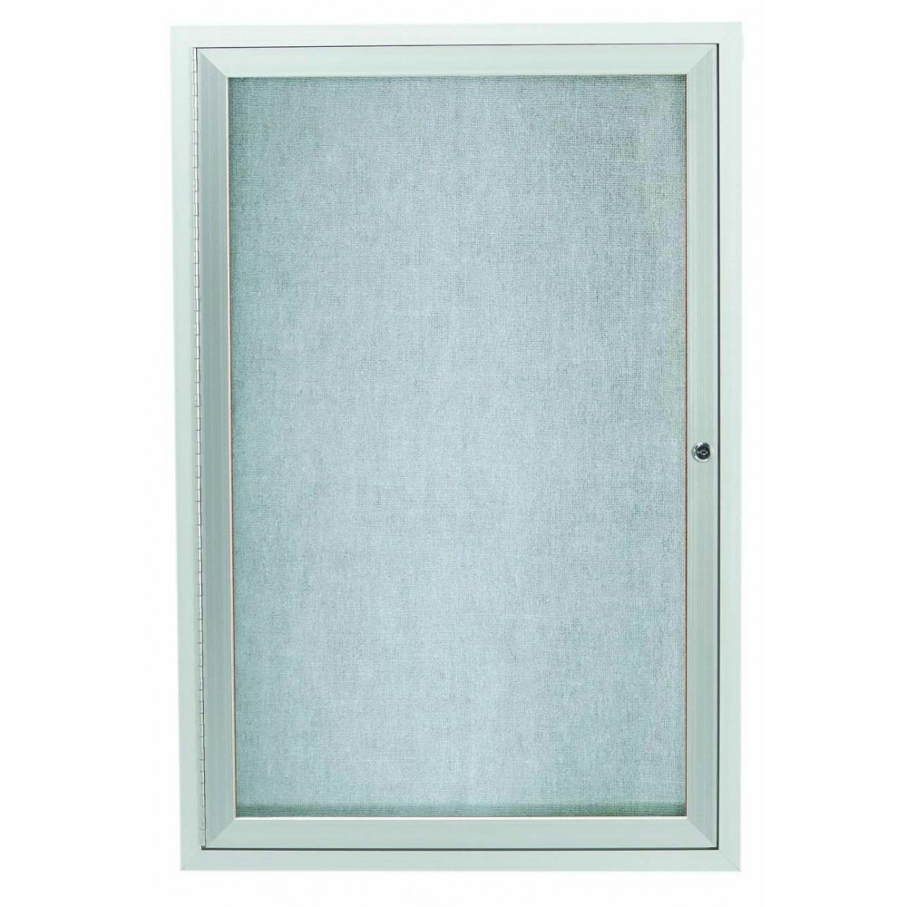 Outdoor Enclosed Aluminum Illuminated Indoor 1-Door Bulletin Board Cabinet - 48