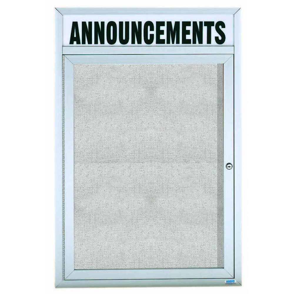 "Aarco Products ODCC3624RHi Outdoor Enclosed Aluminum Illuminated 1-Door Bulletin Board Cabinet with Header, 36""H x 24""W"