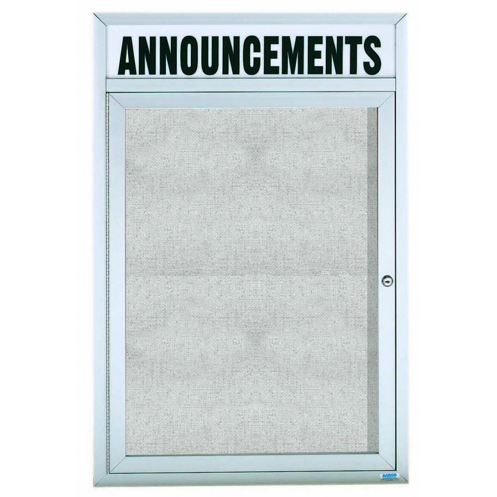 "Aarco Products ODCC4836RHi Outdoor Enclosed Aluminum Illuminated 1-Door Bulletin Board Cabinet with Header, 48""H x 36""W"