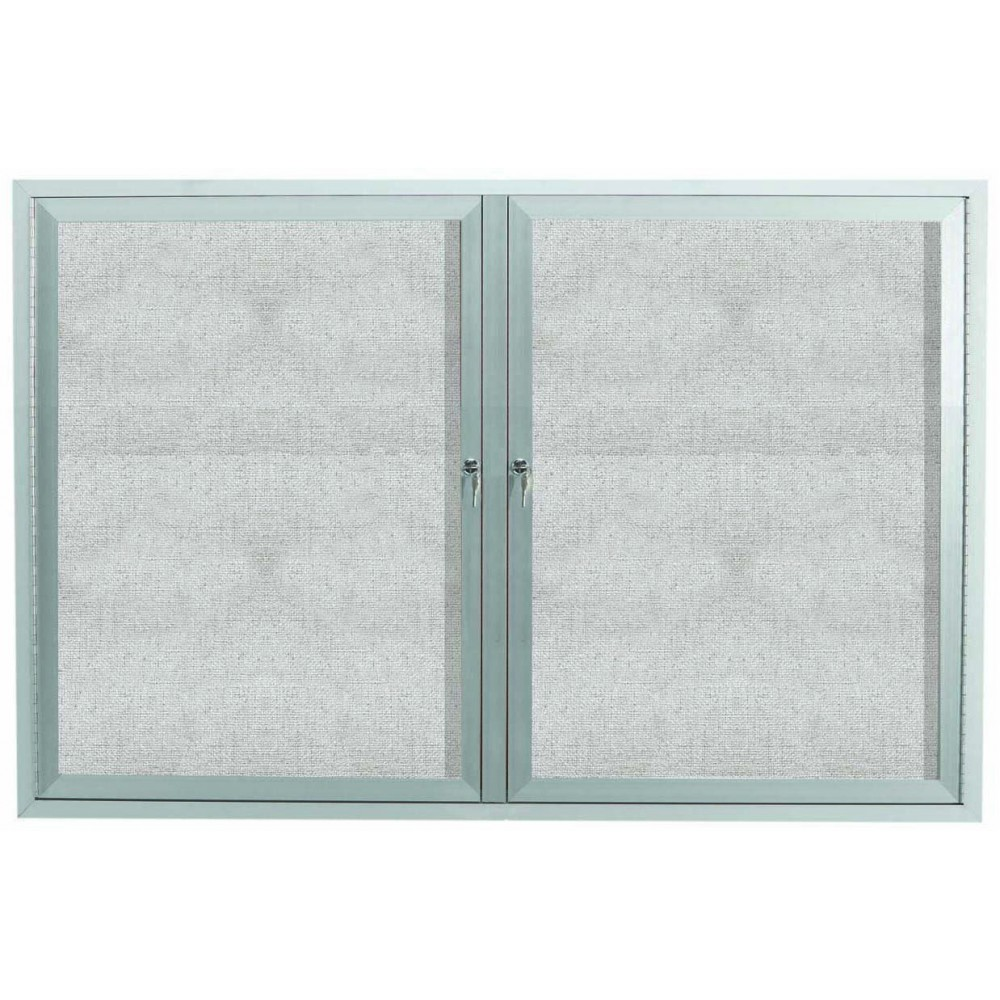 Outdoor Enclosed Aluminum Illuminated Indoor 2-Door Bulletin Board Cabinet - 36