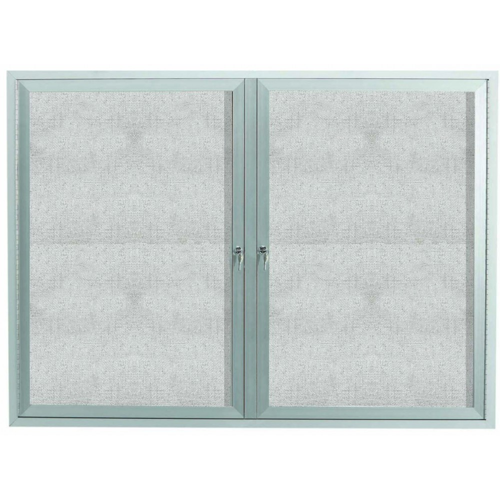 "Aarco Products ODCC4860RI Outdoor Enclosed Aluminum Illuminated 2-Door Bulletin Board Cabinet, 48""H x 60""W"