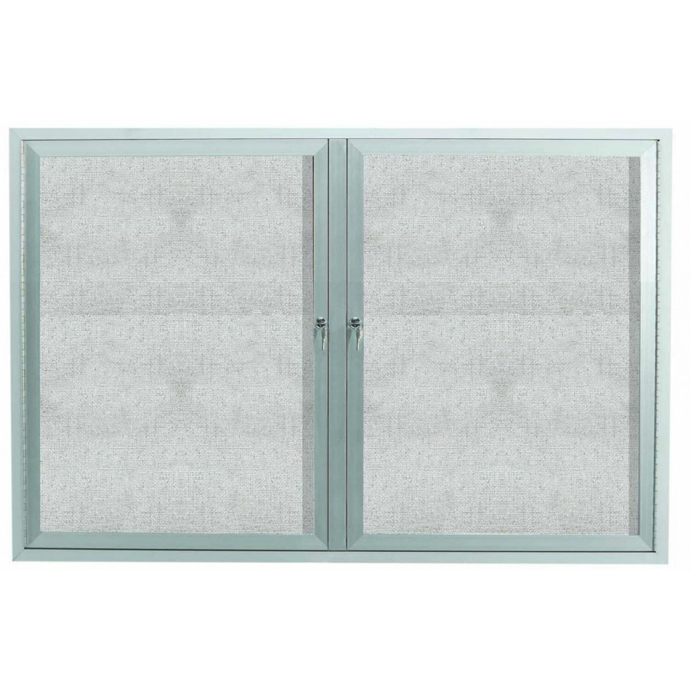 Outdoor Enclosed Aluminum Illuminated Indoor 2-Door Bulletin Board Cabinet - 48