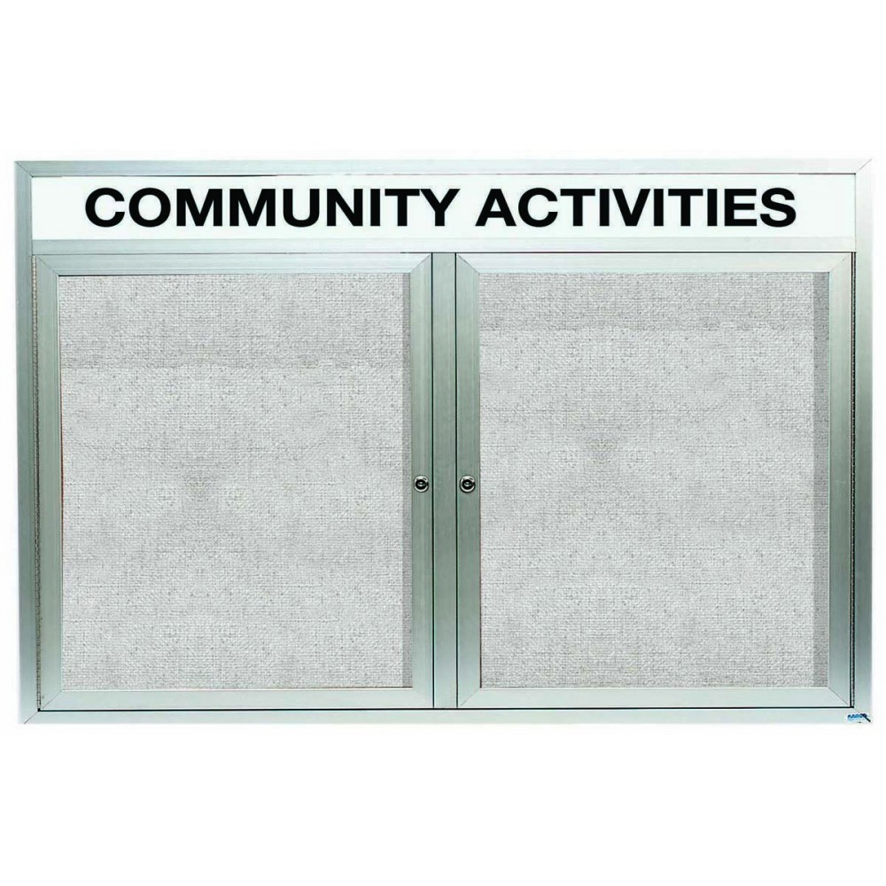 Outdoor Enclosed Aluminum Illuminated Indoor 2-Door Bulletin Board Cabinet W/header - 48