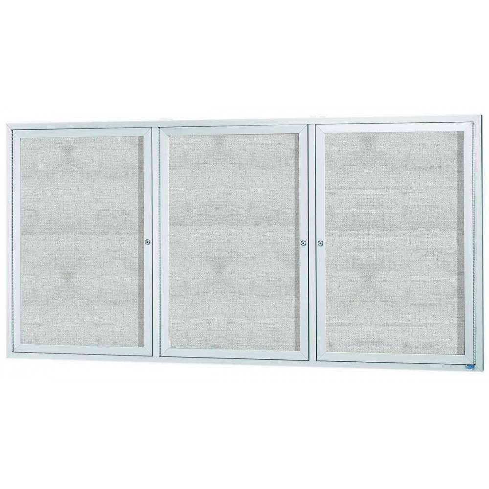 "Aarco Products ODCC3672-3RI Outdoor Enclosed Aluminum 3-Door Illuminated Bulletin Board Cabinet -36""H x 72""W"