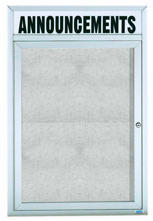 "Aarco Products ODCC3624RH Outdoor Enclosed Aluminum 1-Door Bulletin Board Cabinet with Header, 36""H x 24""W"