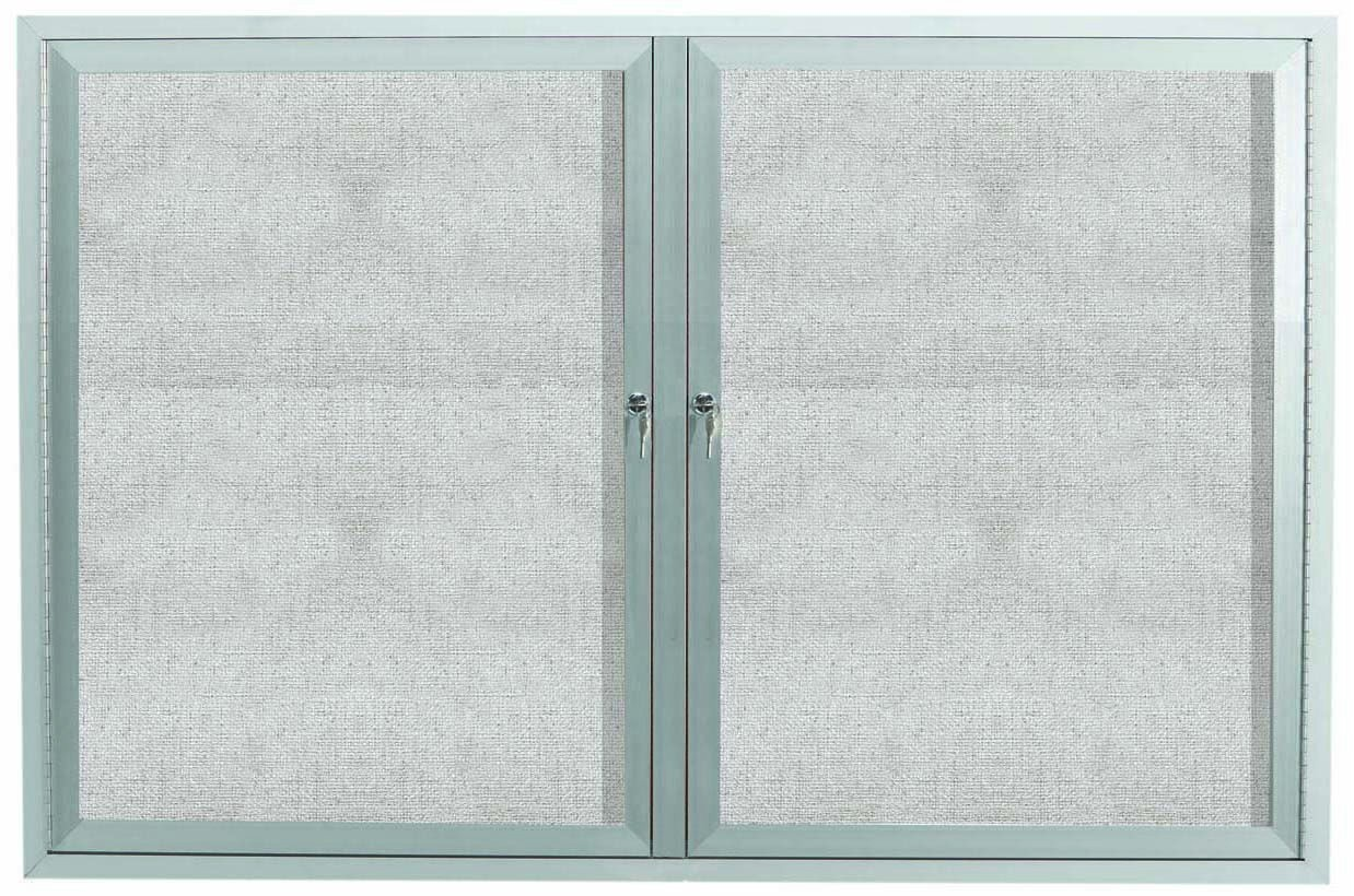"Aarco Products ODCC3648R Outdoor Enclosed Aluminum 2-Door Bulletin Board Cabinet, 36""H x 48""W"