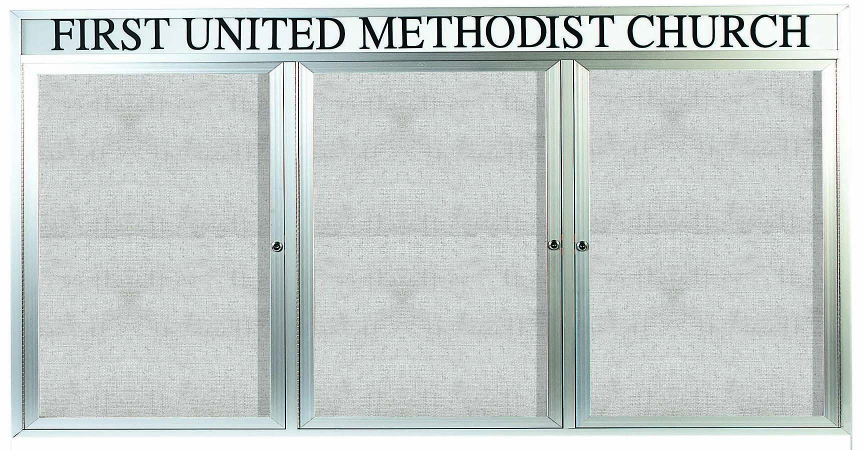 Outdoor Enclosed Aluminum Indoor Bulletin Board Cabinet W/header -36