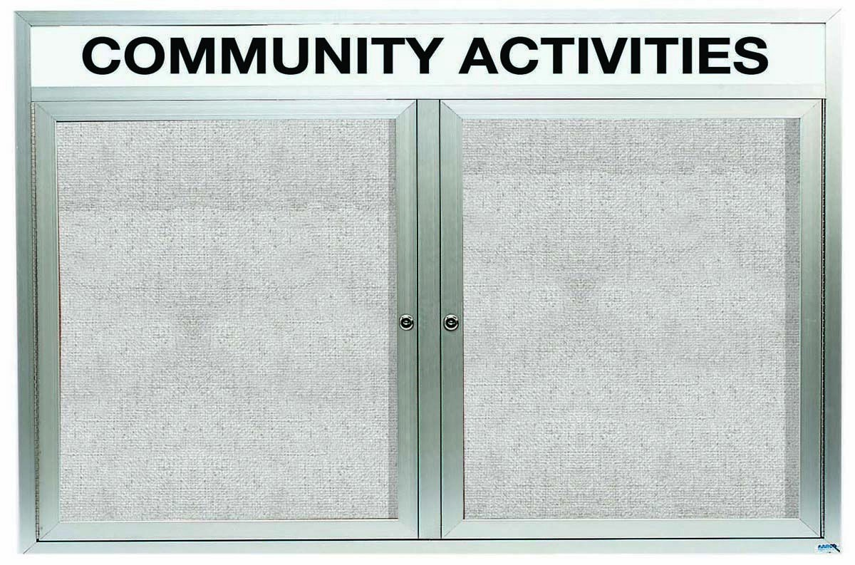 """Aarco Products ODCC4872RH Outdoor Enclosed Aluminum 2-Door Bulletin Board Cabinet with Header, 48""""H x 72""""W"""