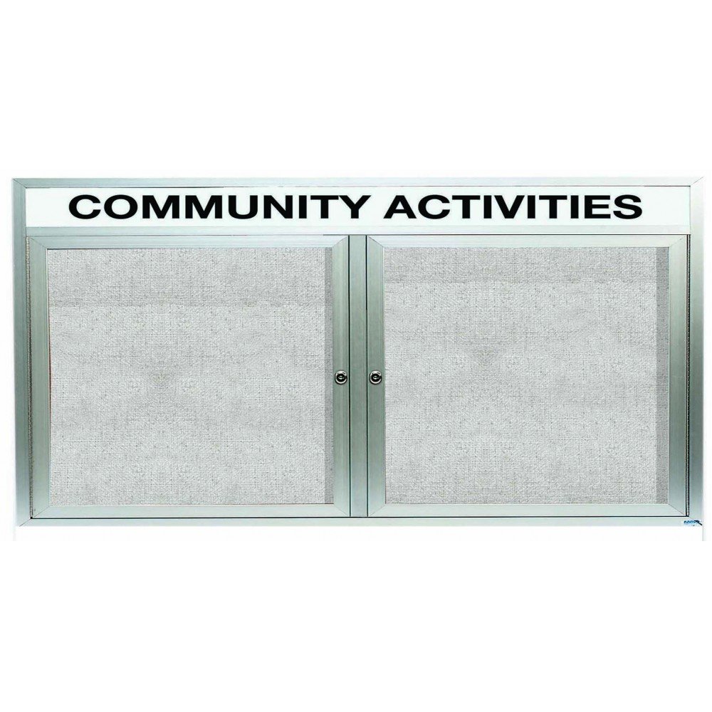 Outdoor Enclosed Aluminum Indoor 2-Door Bulletin Board Cabinet W/header - 36