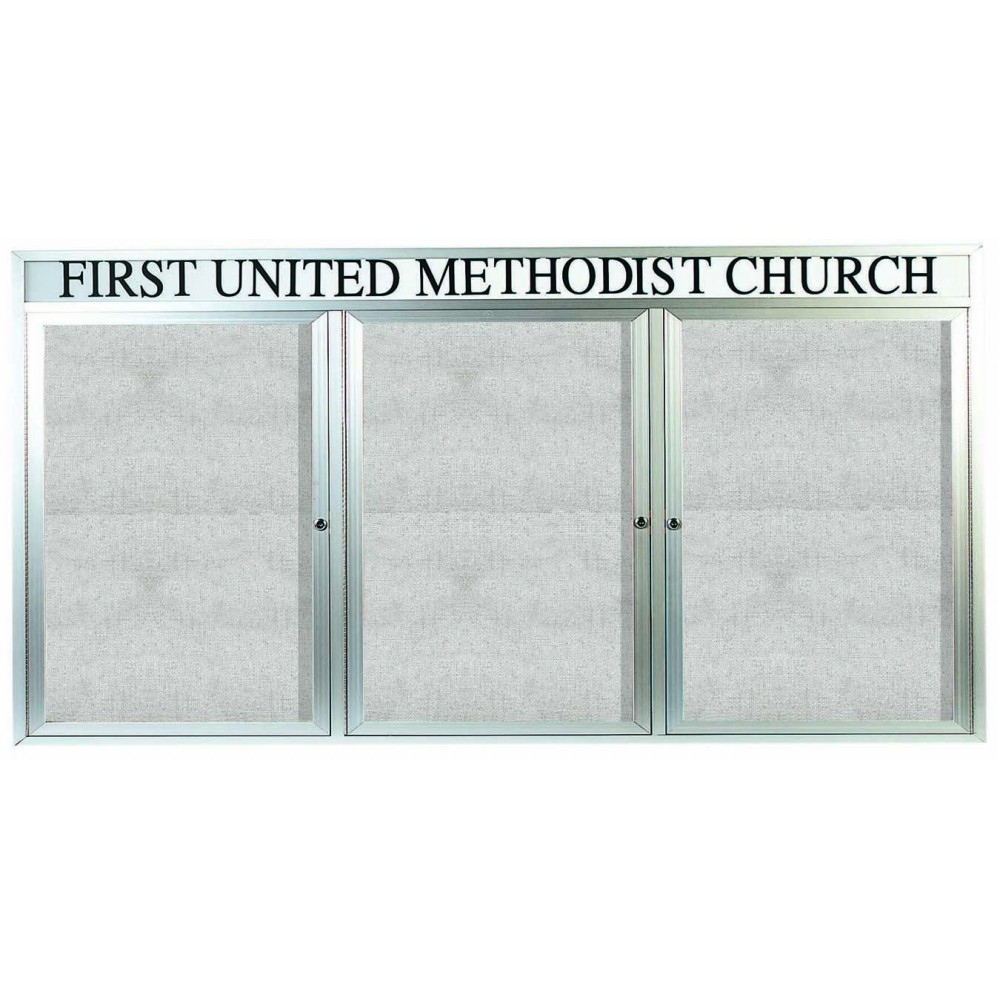 "Aarco Products ODCC4896-3RH Outdoor Enclosed Aluminum 3-Door Bulletin Board Cabinet with Header, 48""H x 96""W"