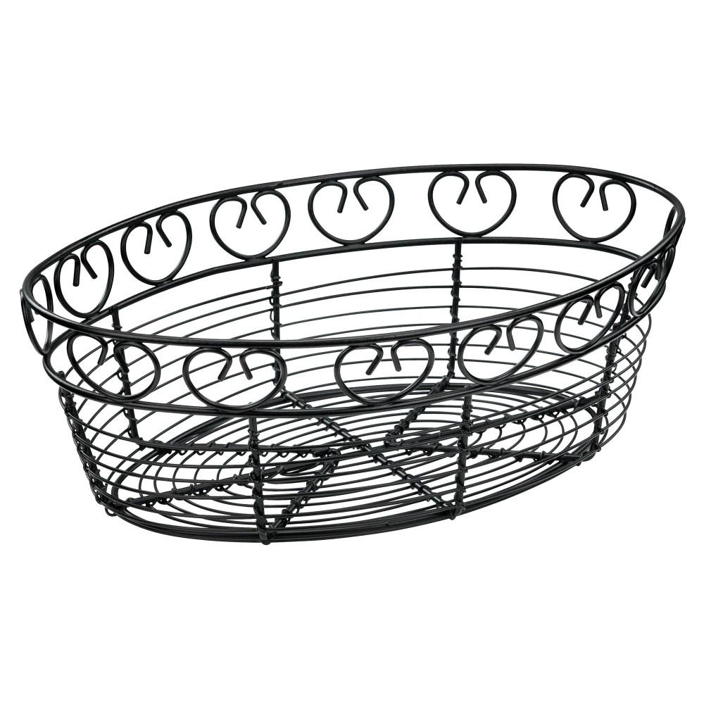 "Winco WBKG-10O Oval Black Metal Wire Bread Basket 10"""