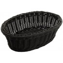 "Winco PWBK-96V Oval Black Poly Woven Basket, 9-1/4"" x 6-1/4"" x 3-1/4"""
