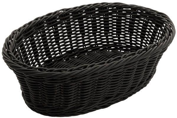 "Winco PWBK-96V Oval Black Poly Woven Basket, 9-1/4"" x 6-1/4"" x 3-1/4"""