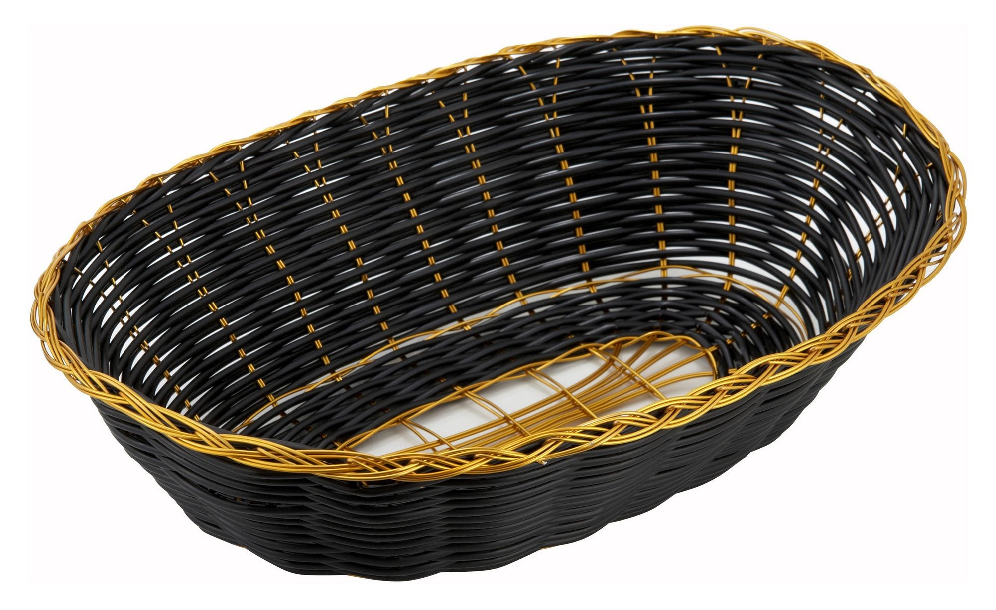 "Winco PWBK-9V Oval Black Poly Woven Basket with Gold Trim 9"" x 7"" x 2-3/4"""