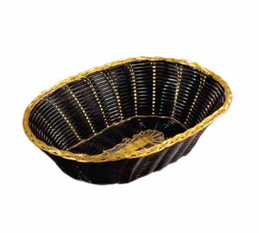 Oval Black Vinyl Woven Basket With Gold Metal Trim - 9
