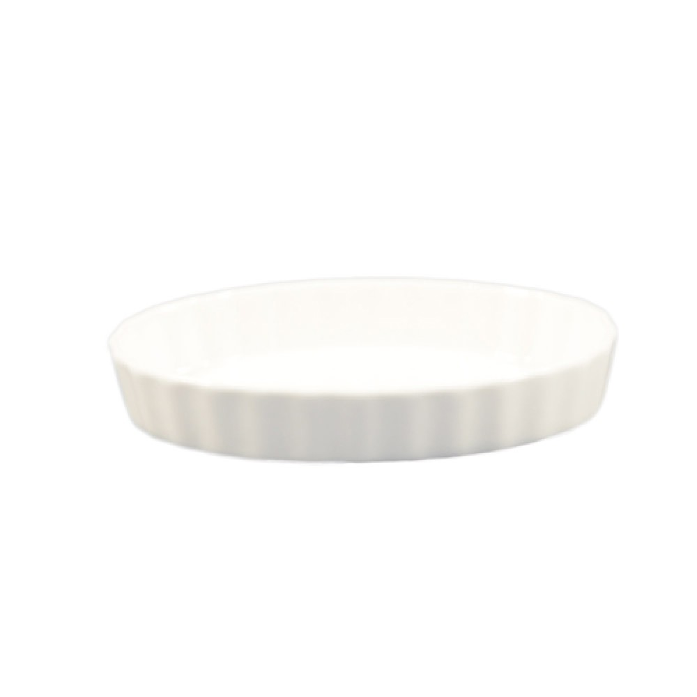 "CAC China QSV-11 White Fluted Oval Serving Dish 11"" x 8"""