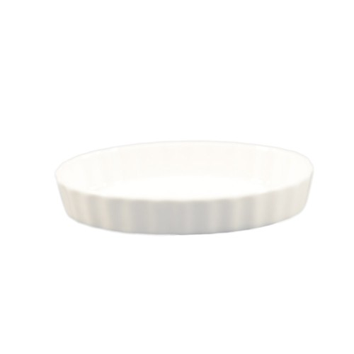 "CAC China QSV-11 Oval Fluted Quiche Dish 11"" x 8"""