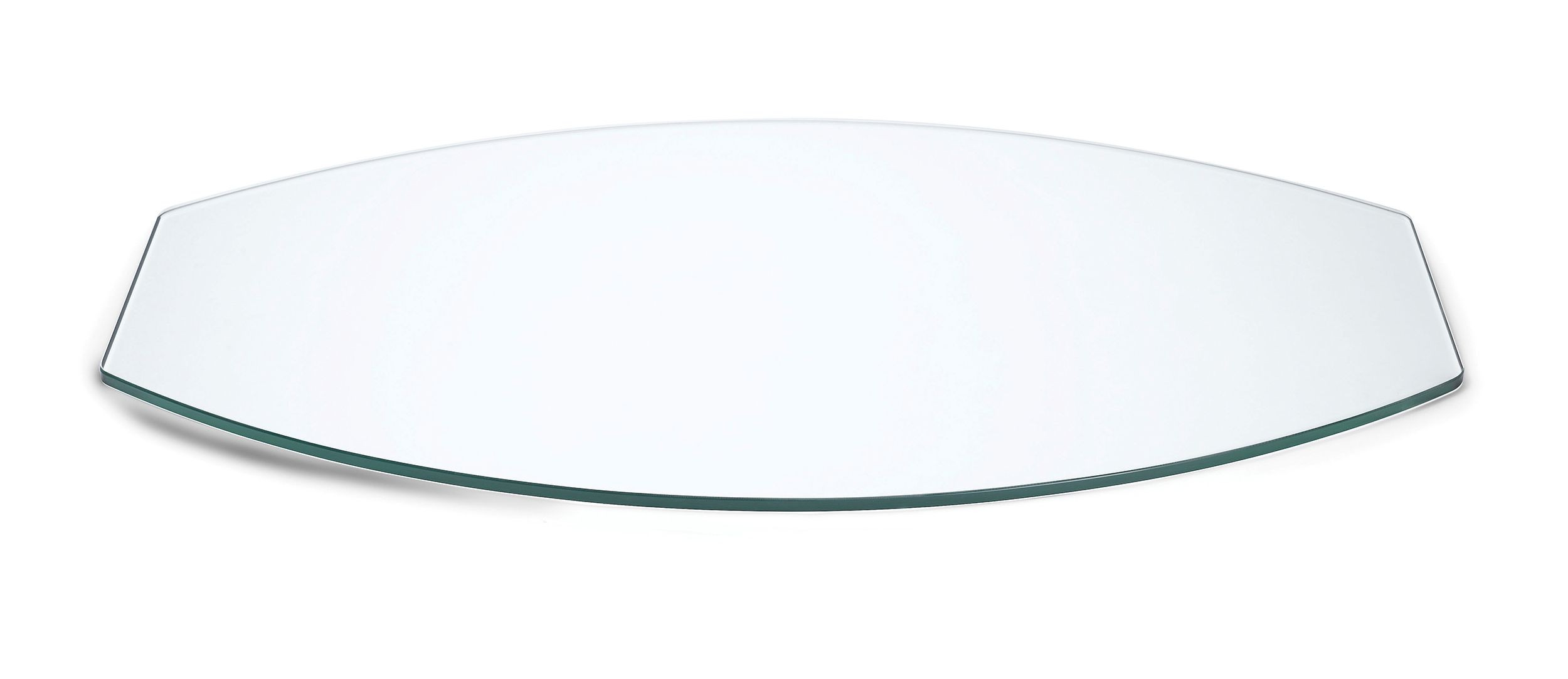 Oval Display Surface Clear Tempered Glass  - 33.5