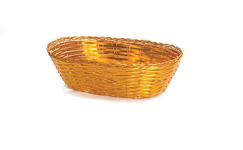 Oval Gold Metal Woven Basket - 9