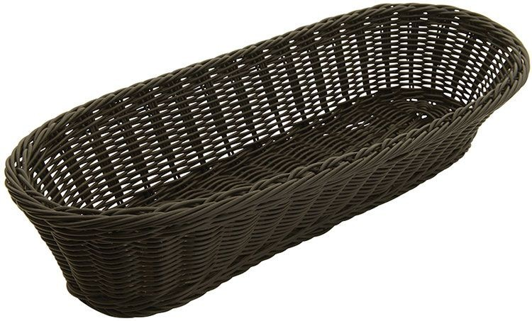 "Winco PWBK-156V Oval Natural Poly Woven Basket 15"" x 6-1/2"" x 3-1/4"""