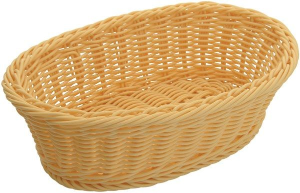 """Winco PWBN-96V Oval Natural Poly Woven Basket 9-1/4"""" x 6-1/4"""" x 3-1/4"""""""