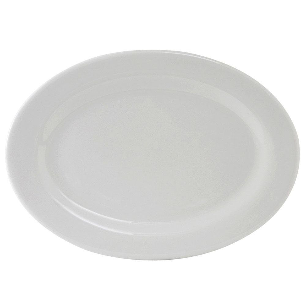 Oval Platter - Bright White, Wide Rim China (9.5