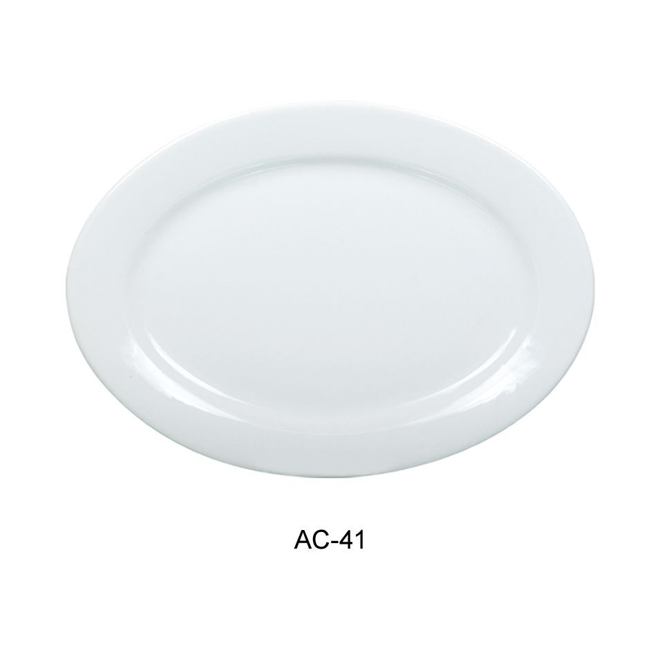Oval Platter - Bright White, Wide Rim China (13.75
