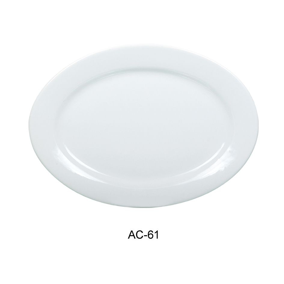 Oval Platter - Bright White, Wide Rim China (16