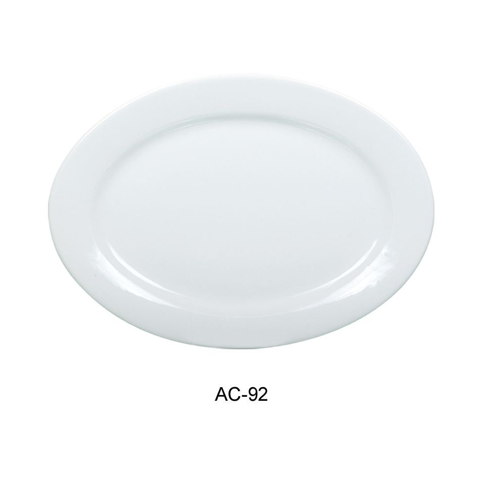 Oval Platter - Bright White, Wide Rim China (22