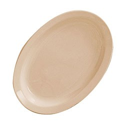 "Thunder Group NS515T Nustone Tan Melamine Narrow Rim Oval Platter, 13-1/4"" x, 9-1/2"""