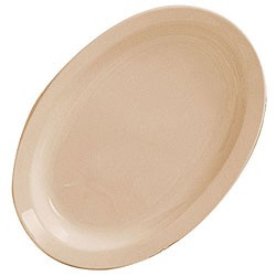 "Thunder Group NS516T Nustone Tan Melamine Narrow Rim Oval Platter, 15-1/2"" x, 10-3/4"""
