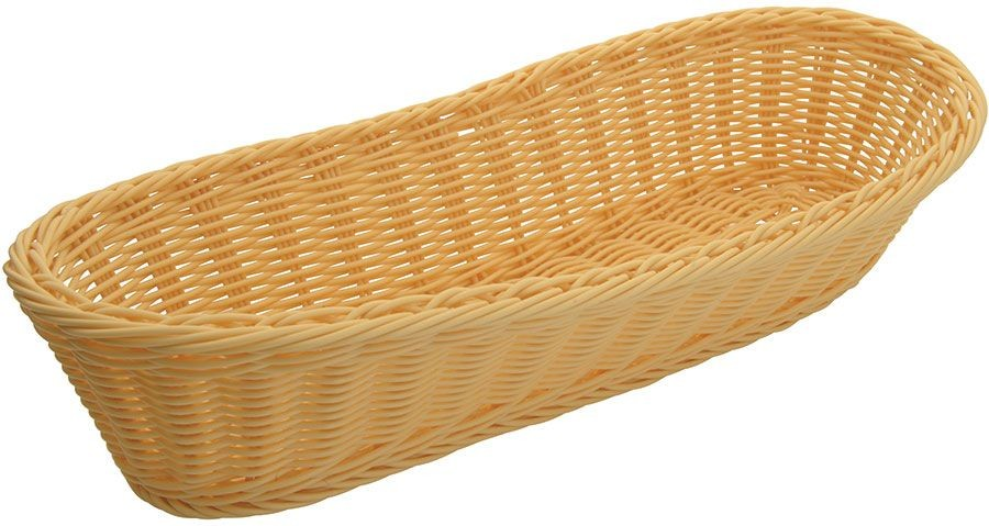 """Winco PWBN-156V Oval Poly Natural Woven Basket 15"""" x 6-1/2"""" x 3-1/4"""""""