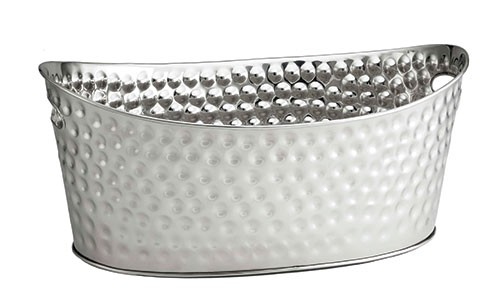 TableCraft BT2013 Oval Hammered Stainless Steel Oval Beverage Tub
