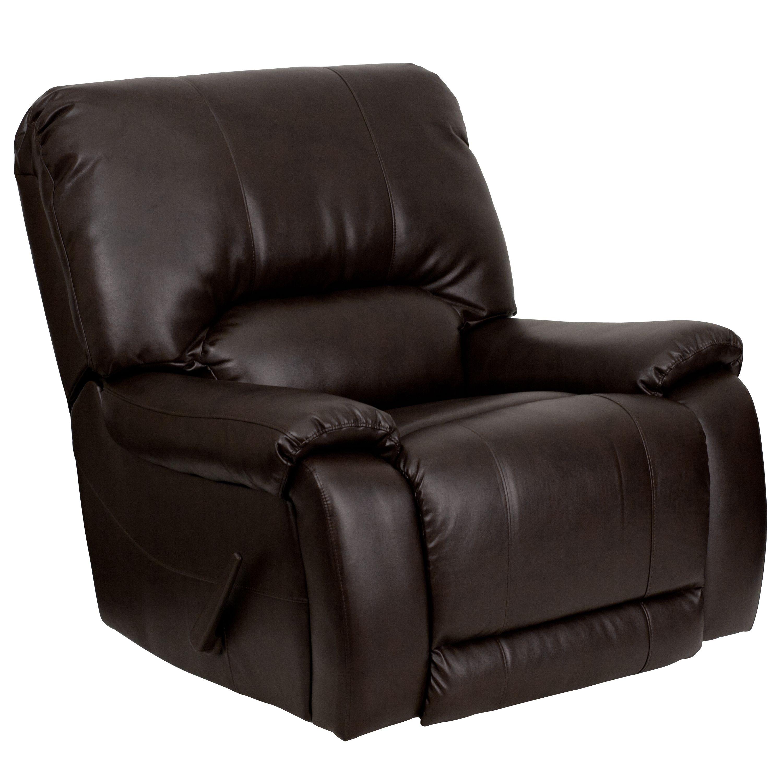 Flash Furniture MEN-DSC01029-BRN-GG OverStuffed Brown Leather Rocker Recliner