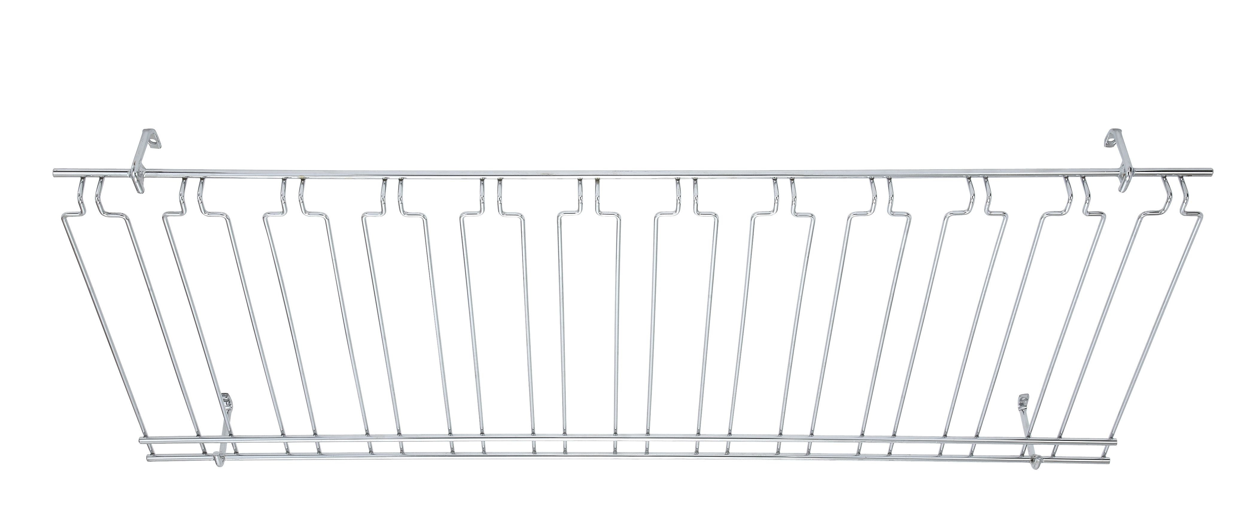 Overhead Glass Rack 18X48X4 Chrome Plated