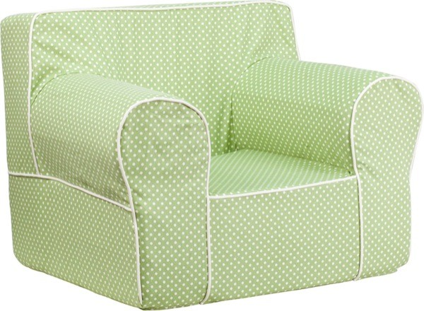 Flash Furniture dg-lge-ch-kid-dot-grn-gg Oversized Green Dot Kids Chair with White Piping