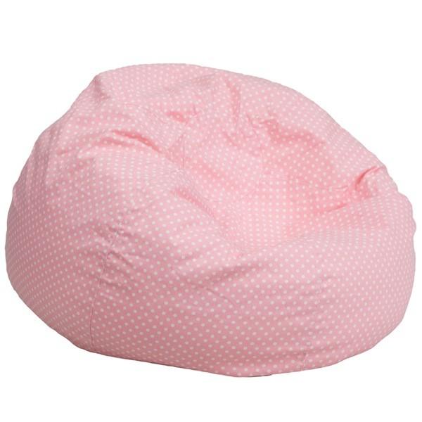 Flash Furniture DG-BEAN-LARGE-DOT-PK-GG Oversized Light Pink Dot Bean Bag Chair