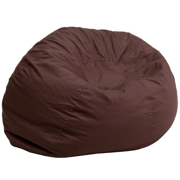 Flash Furniture DG-BEAN-LARGE-SOLID-BRN-GG Oversized Solid Brown Bean Bag Chair