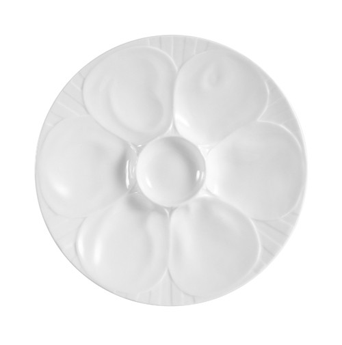 """CAC China OYS-9 6-Compartment China Oyster Plate 9"""""""