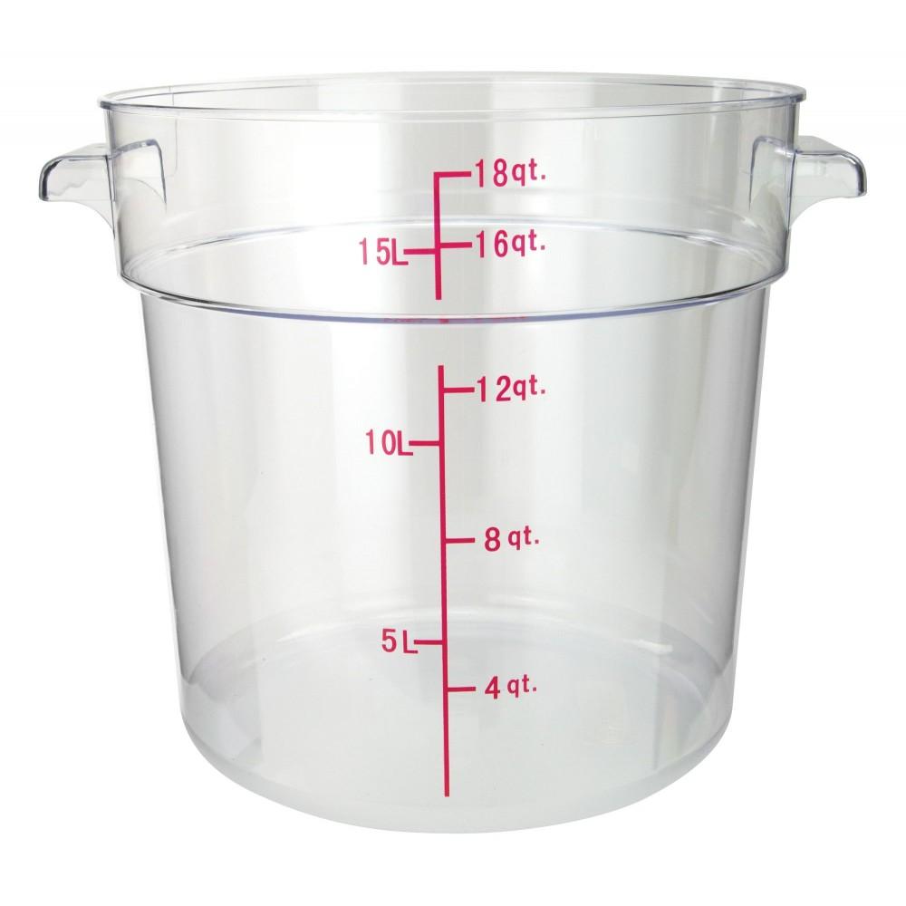 Winco pcrc-18 Round Polycarbonate Storage Container, 18 Qt.