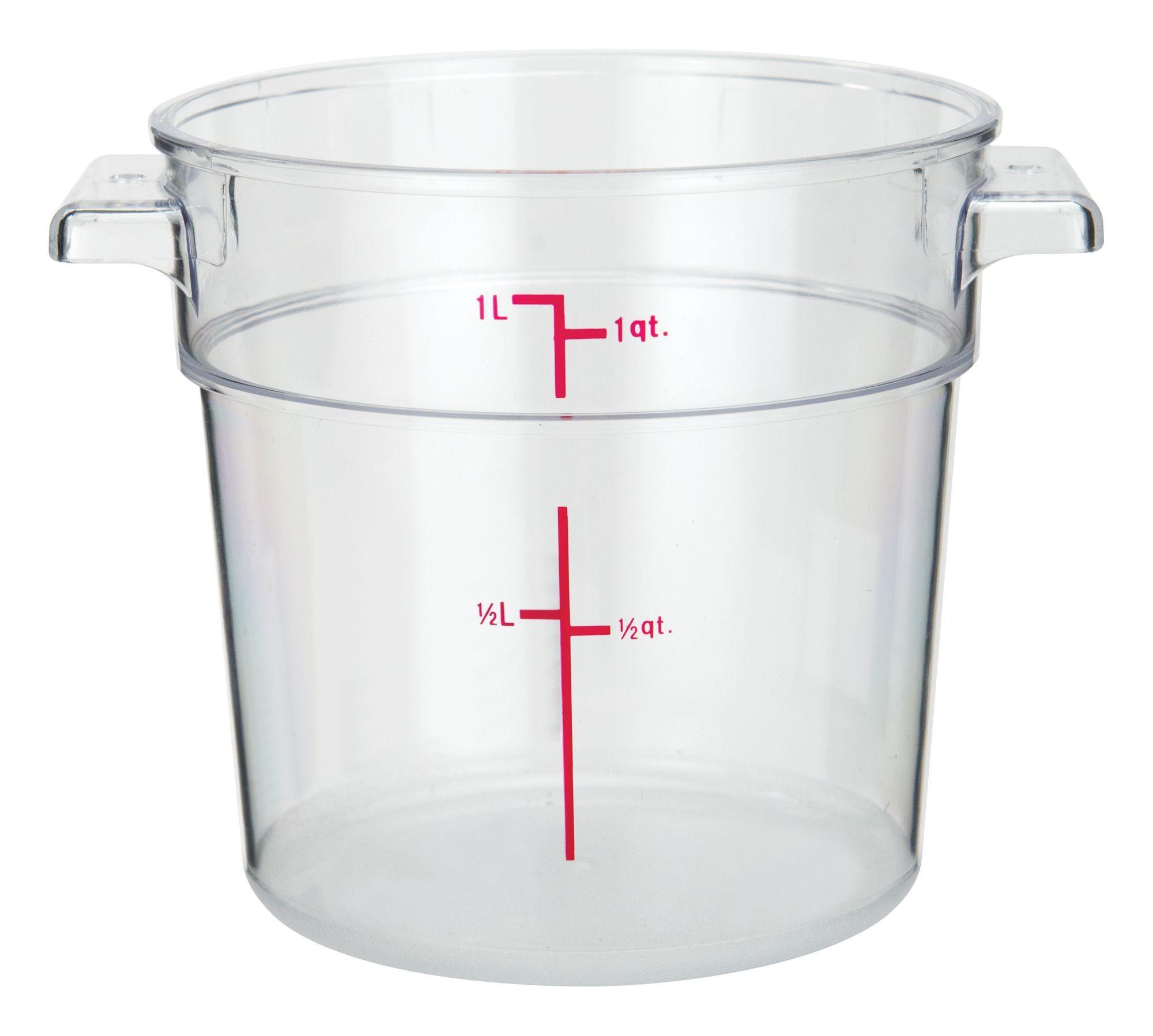 Winco PCRC-1 Round Polycarbonate Storage Container, 1 Qt.