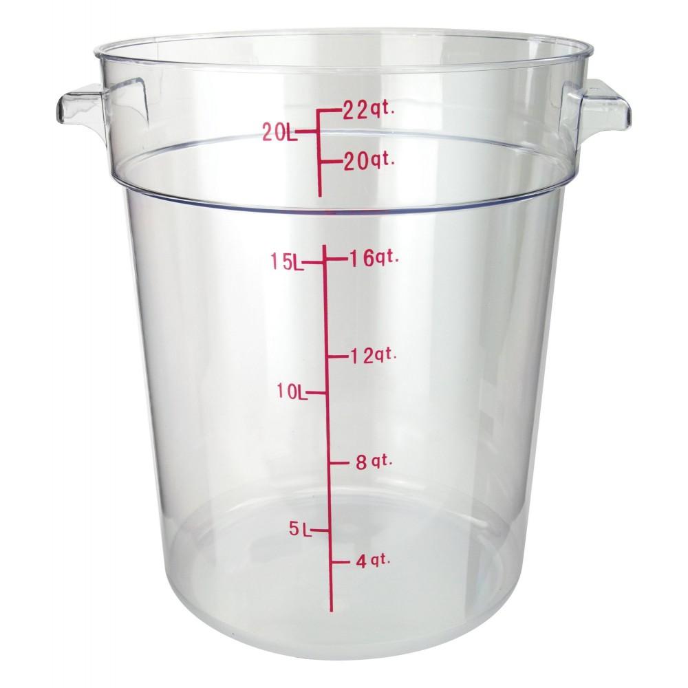 Winco PCRC-22 Round Polycarbonate Storage Container, 22 Qt.