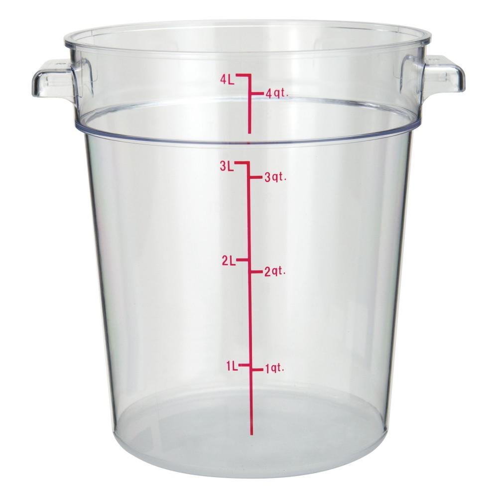 Winco PCRC-4 Round Polycarbonate Storage Container, 4 Qt.